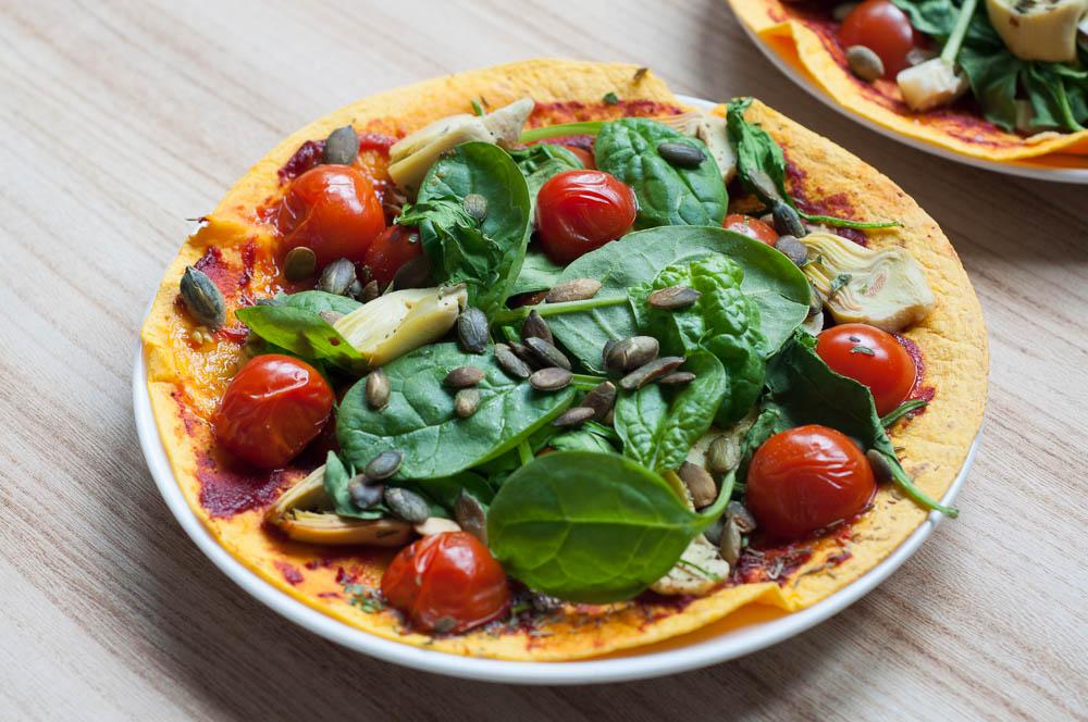 Pizzawraps met spinazie en artisjokharten