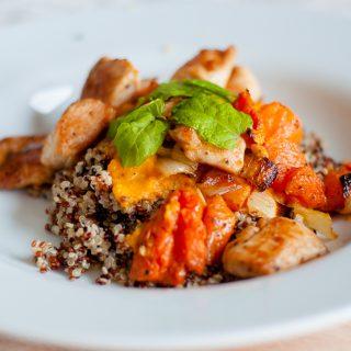 Quinoa met pompoenmousse en munt