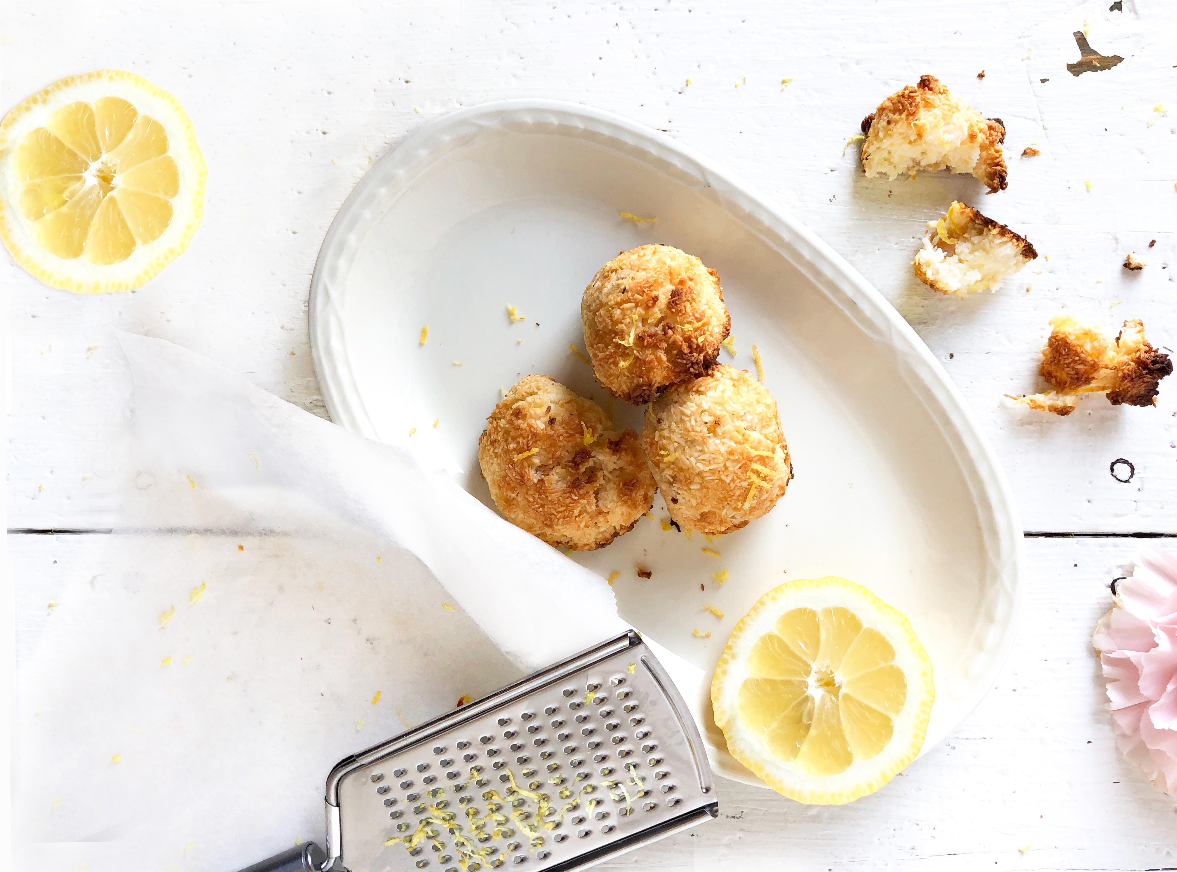 cocosmakronen met citroen en gember