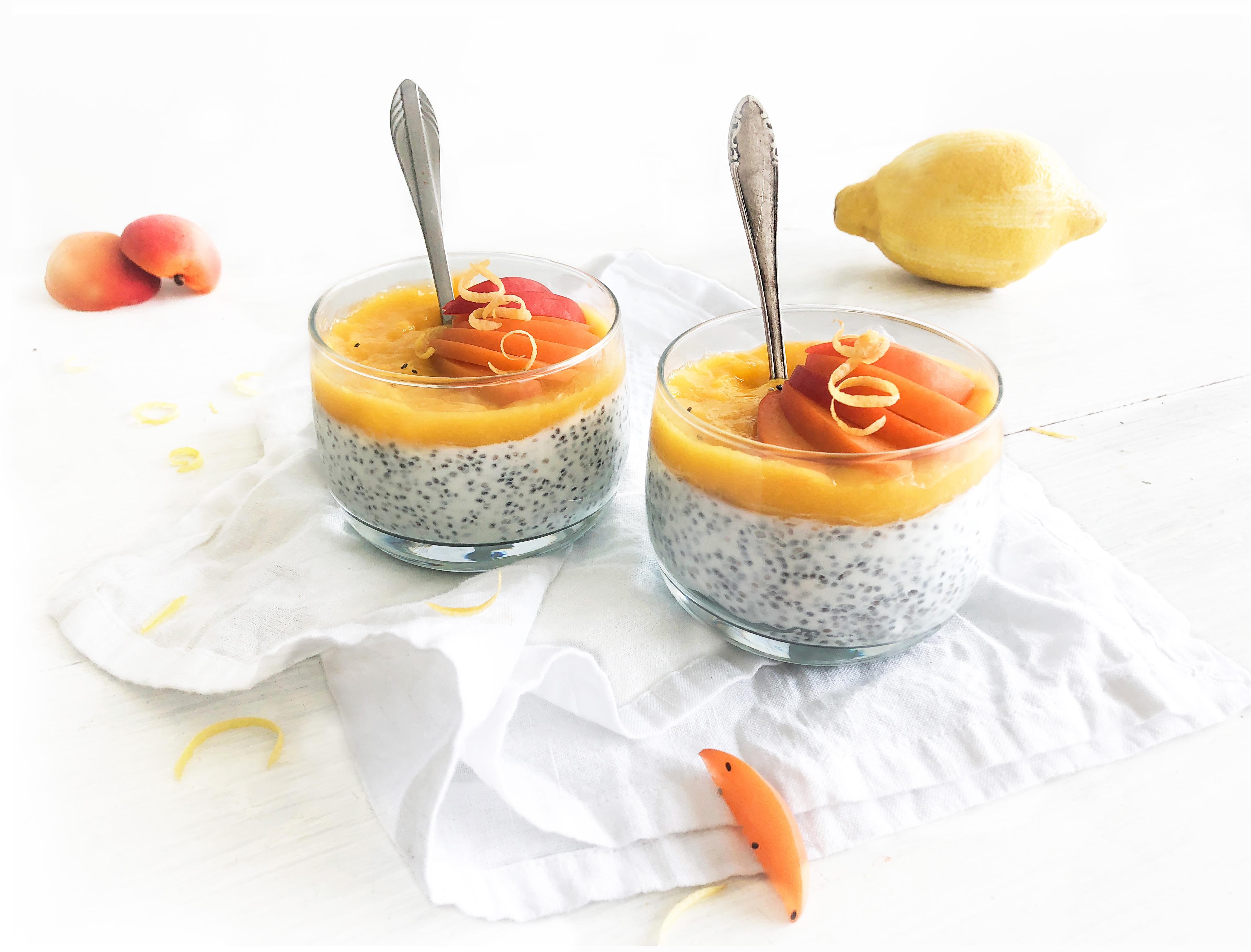 Chiapudding met citroen en mango