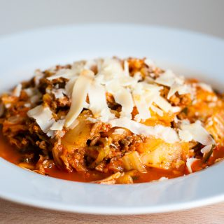 Courgetti met vega gehakt en paprikasaus
