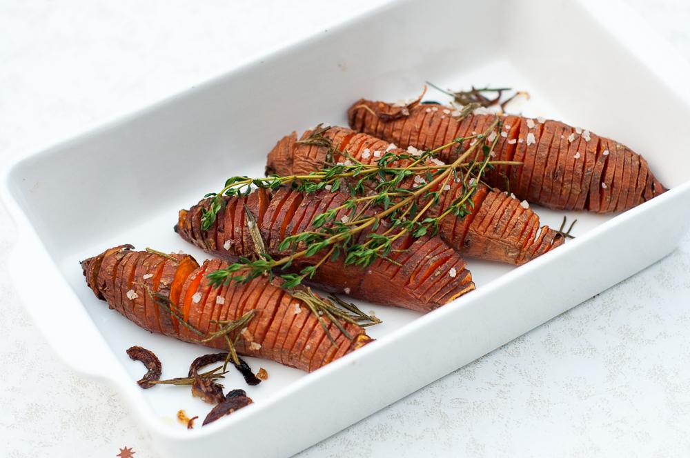 Hasselback zoete aardappels