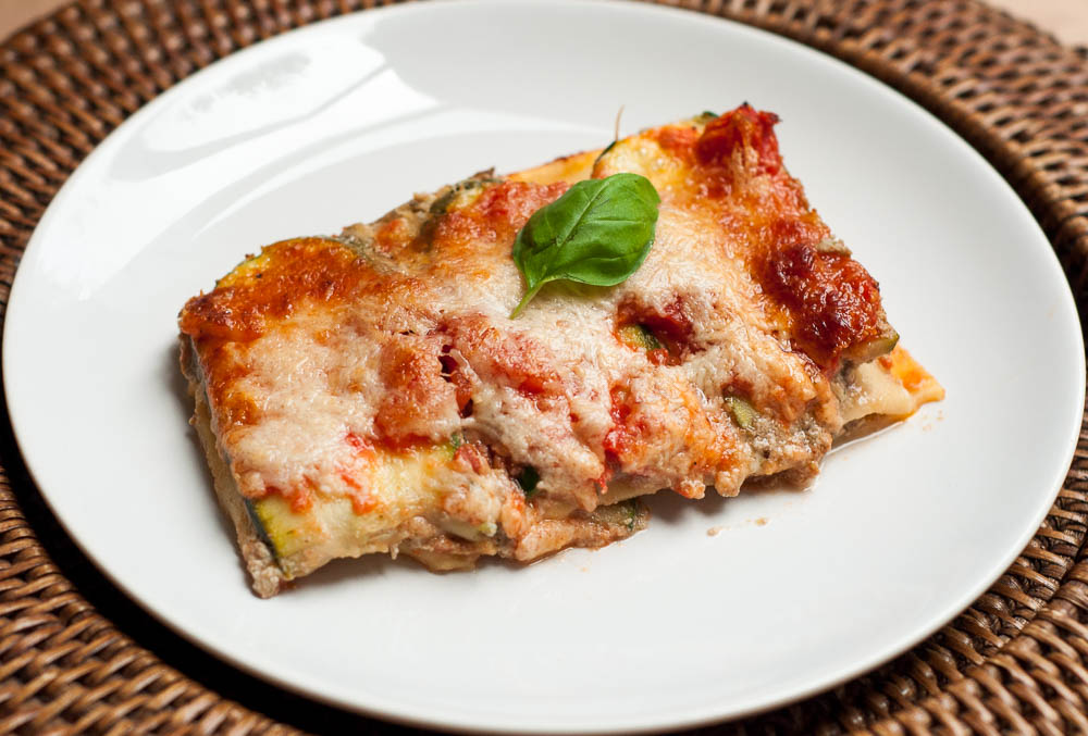 Courgette lasagne met tofu